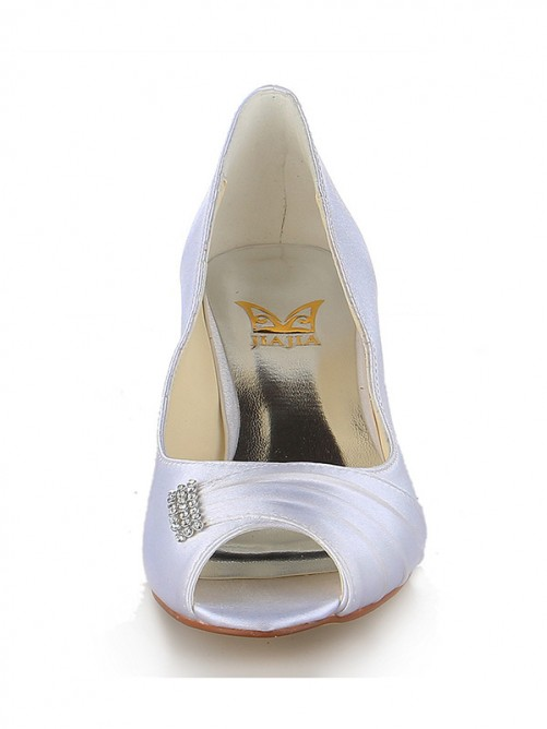 Chicregina Womens Satin Peep Toe Kitten Heel Wedding Shoes with Rhinestone