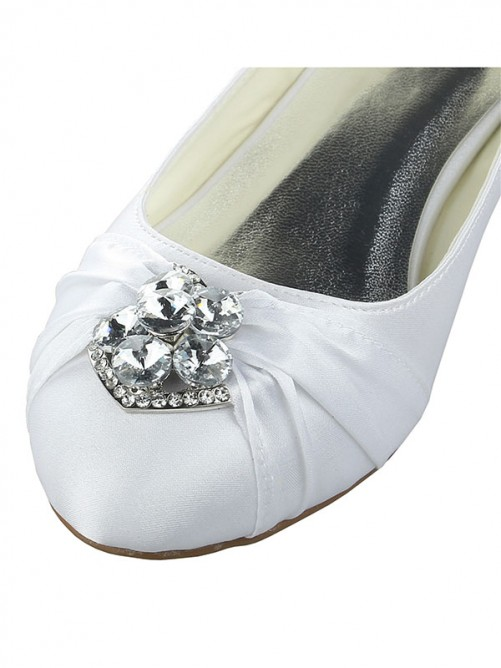 Chicregina Womens Satin Lace Platform Closed Toe Wedding Shoes with Bowknot Stiletto Heel