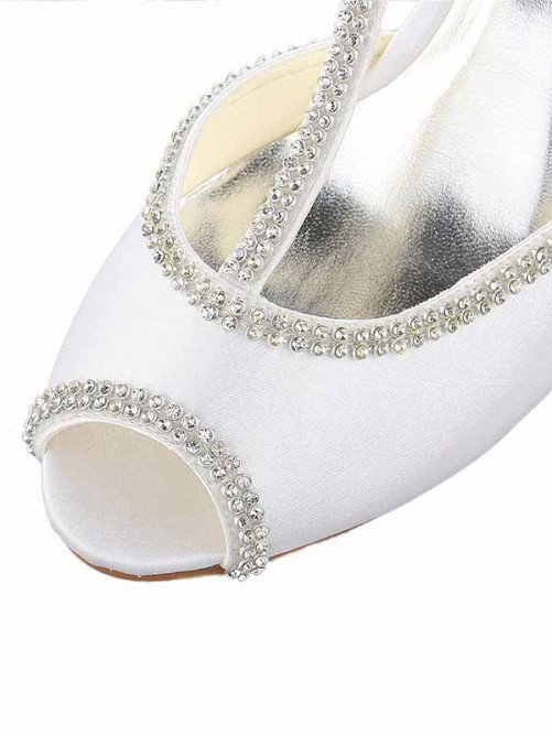 Chicregina Womens Peep Toe Wedding Shoes Strap Wedding Shoes with Rhinestone Satin Wedge Heel