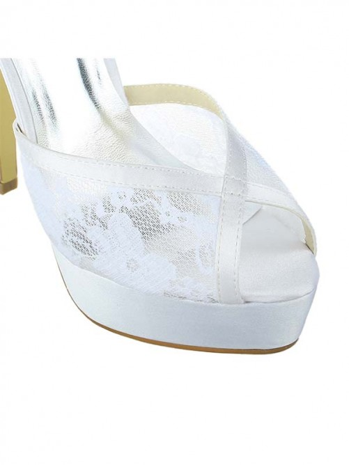 Chicregina Womens Satin Lace Platform Peep Toe Wedding Shoes with Buckle Stiletto Heel