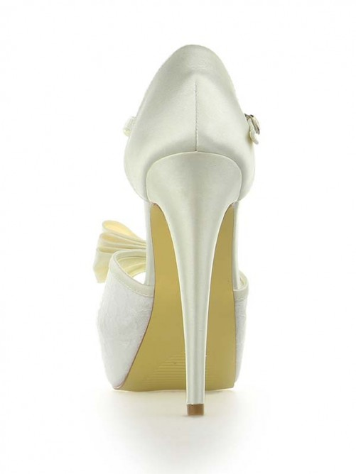 Chicregina Womens Satin Lace Platform Peep Toe Wedding Shoes with Bowknot Stiletto Heel