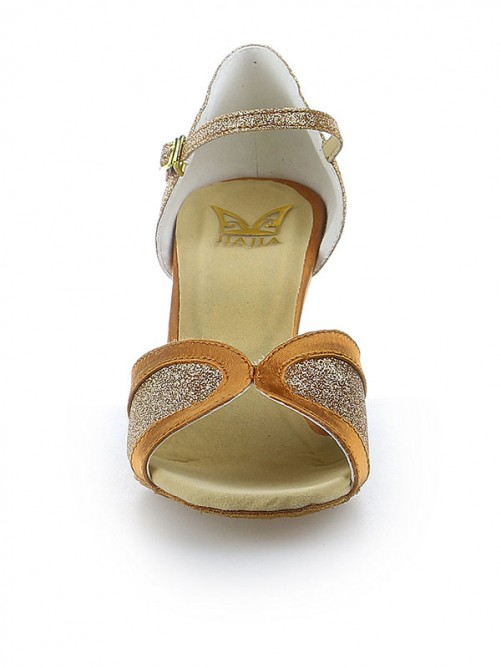 Chicregina Womens Satin Spool Heel Peep Toe Dance Shoes with Buckle Sparkling Glitter