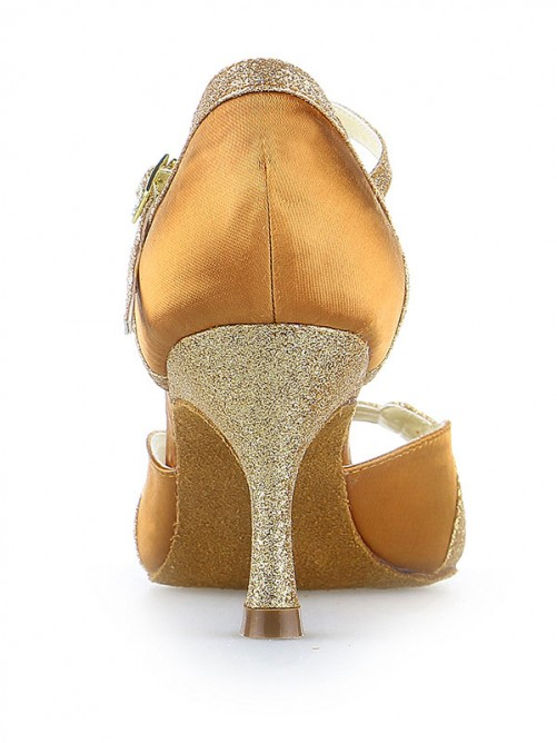 Chicregina Womens Spool Heel Satin Peep Toe Dance Shoes with Sparkling Glitter
