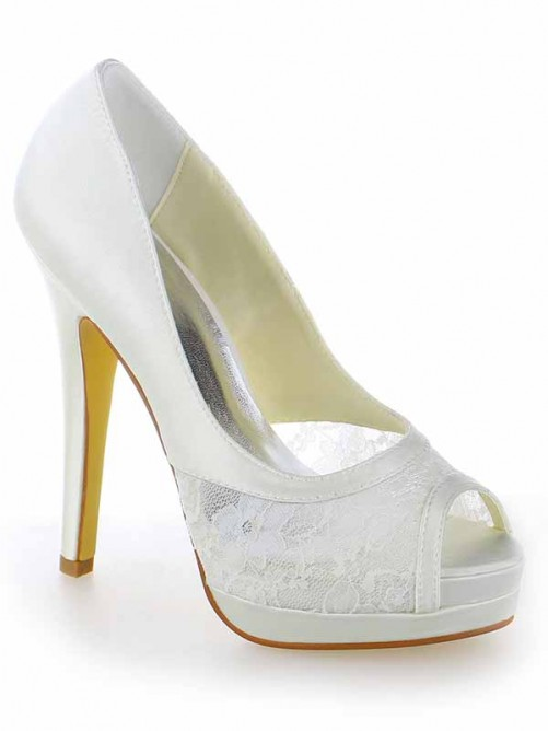 Chicregina Womens Satin Lace Peep Toe Wedding Shoes with Stiletto Heel Platform