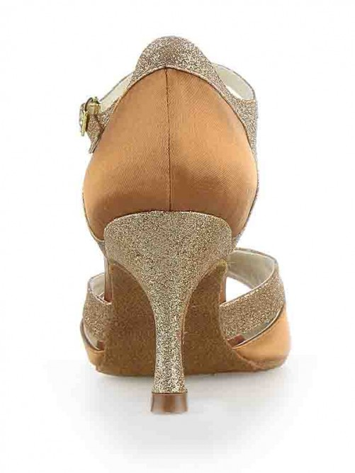 Chicregina Womens Satin Peep Toe Spool Heel Ballroom Dance Shoes with Sparkling Glitter