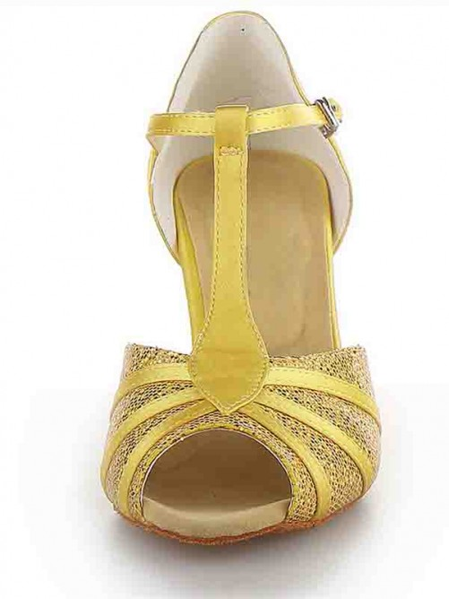 Chicregina Womens Peep Toe Spool Heel Satin Dance Shoes with Buckle Sparkling Glitter