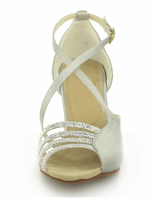 Chicregina Womens Peep Toe Satin Spool Heel Wedding Shoes with Buckle