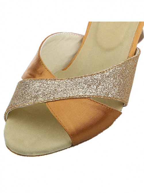 Chicregina Womens Peep Toe Dance Shoes with Sparkling GlitterSatin Spool Heel
