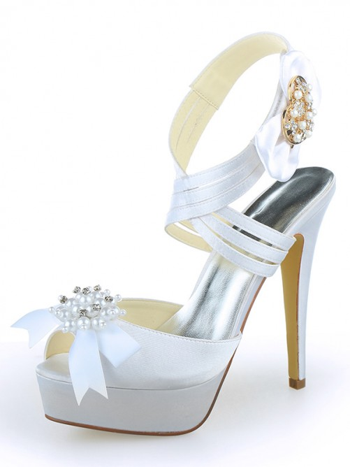 Chicregina Womens Satin Peep Toe Platform Stiletto Heel Wedding Shoes with Pearl