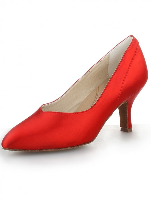 Chicregina Womens Red Closed Toe Cone Heel Satin Party Shoes