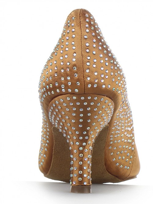 Chicregina Womens Cone Heel Satin Closed Toe Party Shoes with Rhinestone