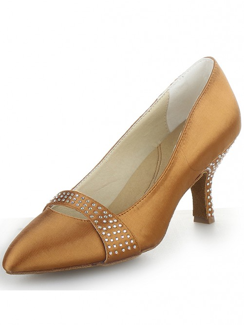 Chicregina Womens Satin Cone Heel Closed Toe Party Shoes with Rhinestone