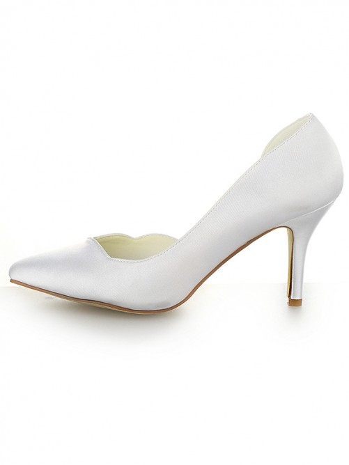 Chicregina Womens Satin Closed Toe Cone Heel Wedding Shoes