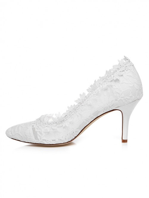 Chicregina Womens Spool Heel Satin Closed Toe Wedding Shoes with Lace