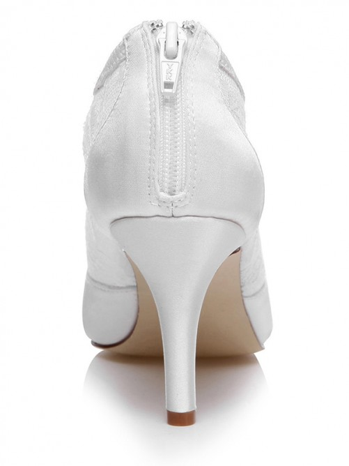 Chicregina Womens Satin Spool Heel Closed Toe Wedding Shoes with Zipper