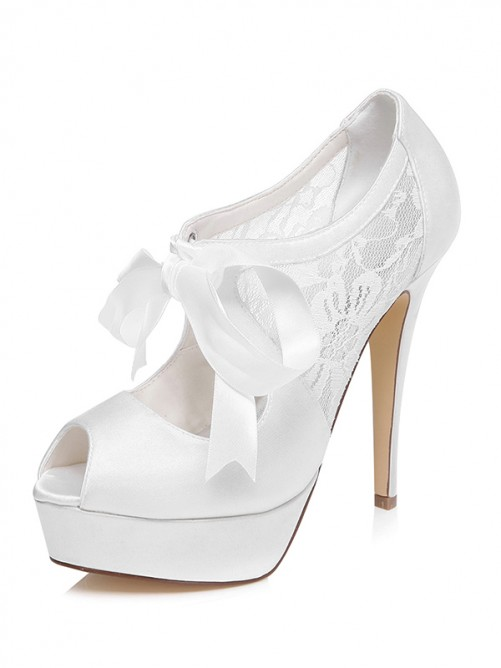 Chicregina Womens Satin Platform Stiletto Heel Peep Toe Wedding Shoes with Bowknot