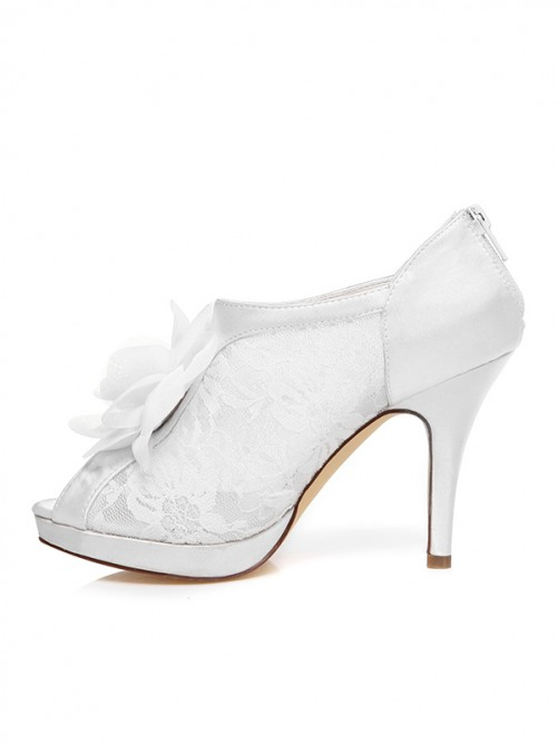 Chicregina Womens Spool Heel Peep Toe Satin Wedding Shoes with Flower