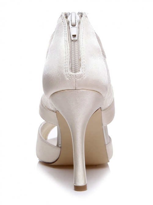 Chicregina Womens Spool Heel Satin Peep Toe Bridal Shoes with Zipper
