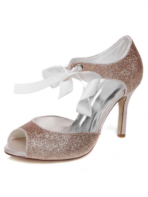 Chicregina Womens Spool Heel Peep Toe Wedding Shoes with Bowknot