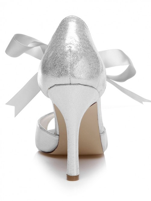Chicregina Womens Peep Toe Wedding Shoes Spool Heel Wedding Shoes with Bowknot