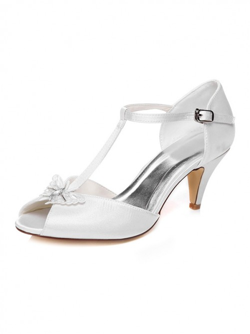 Chicregina Womens Cone Heel Peep Toe Satin Wedding Shoes with Buckle