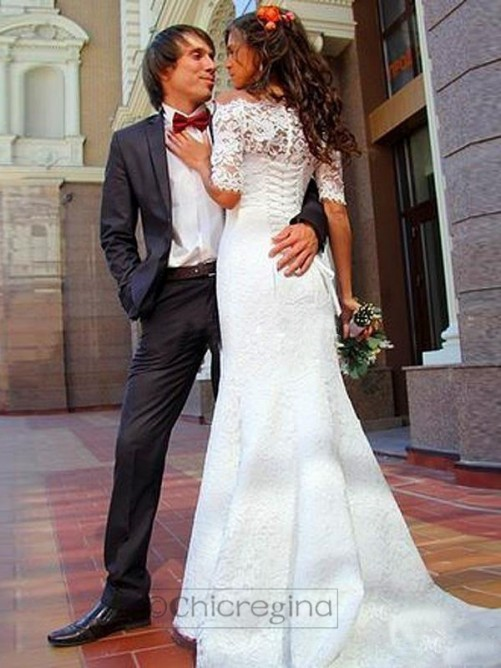 Trumpet/Mermaid Off-the-Shoulder 1/2 Sleeves Sweep/Brush Train Wedding Dress With Lace