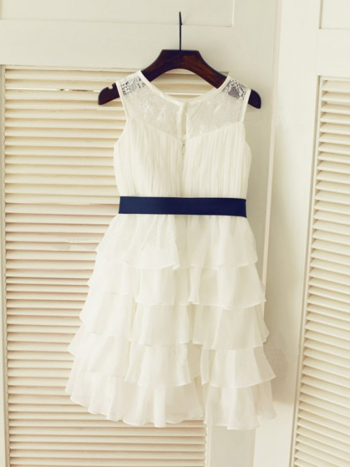 Chicregina Long A-Line/Princess Scoop Sleeveless Chiffon Communion Dress with Ruched