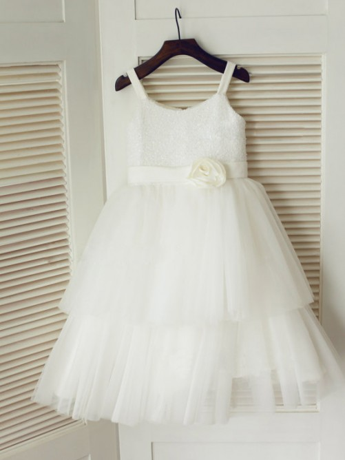 Chicregina Long A-Line/Princess Spaghetti Straps Sleeveless Communion Dress with Tulle