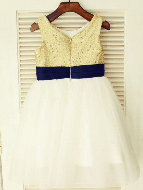 Chicregina Long A-Line/Princess Scoop Sleeveless Communion Dress with Tulle