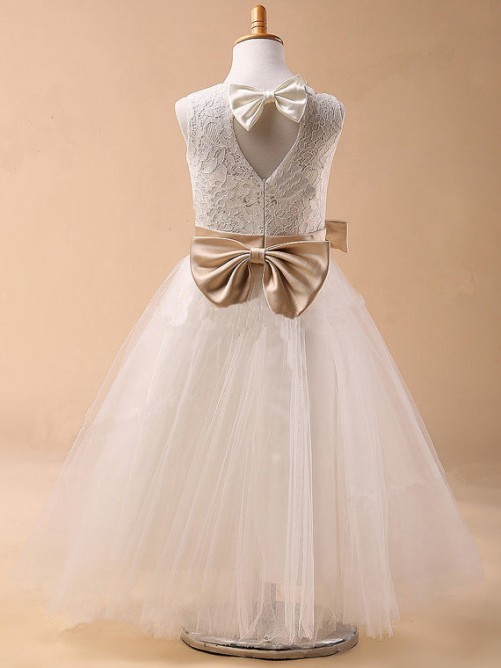 Ball Gown Jewel Sleeveless Bowknot Tea-Length Communion Dress with Tulle