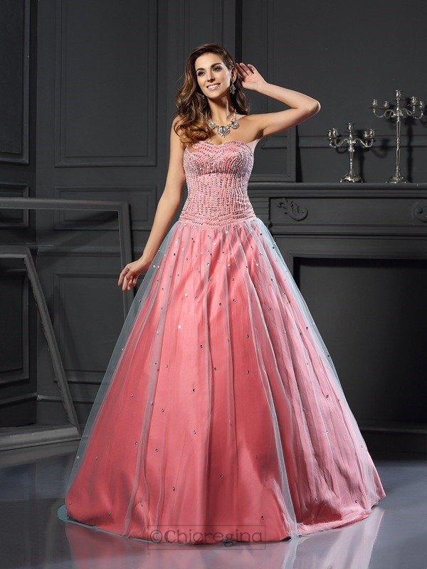 Chicregina Ball Gown Satin Sweetheart Long Dress with Embroidery Beading
