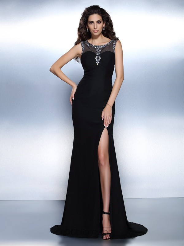 Chicregina Trumpet/Mermaid Bateau Sweep/Brush Train Chiffon Dress with Rhinestone Beading