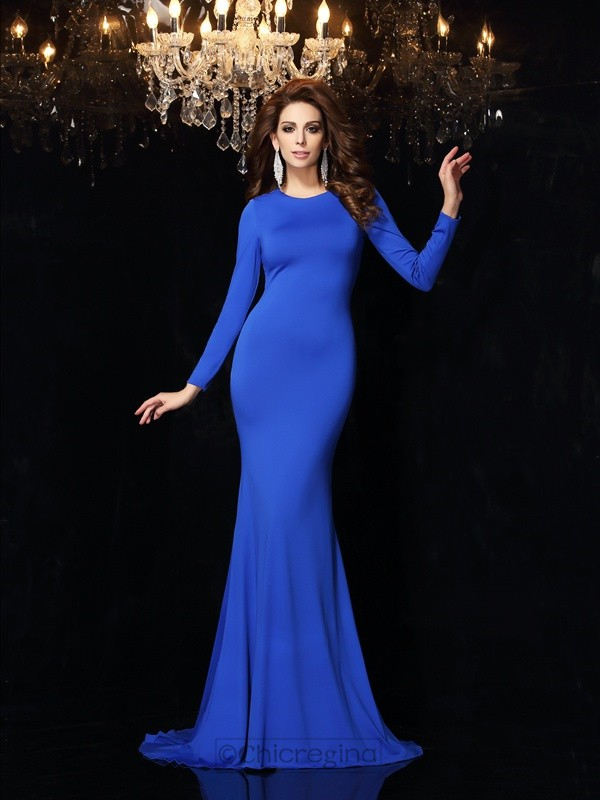Chicregina Trumpet/Mermaid Scoop Long Sleeves Sweep/Brush Train Spandex Dress with Embroidery