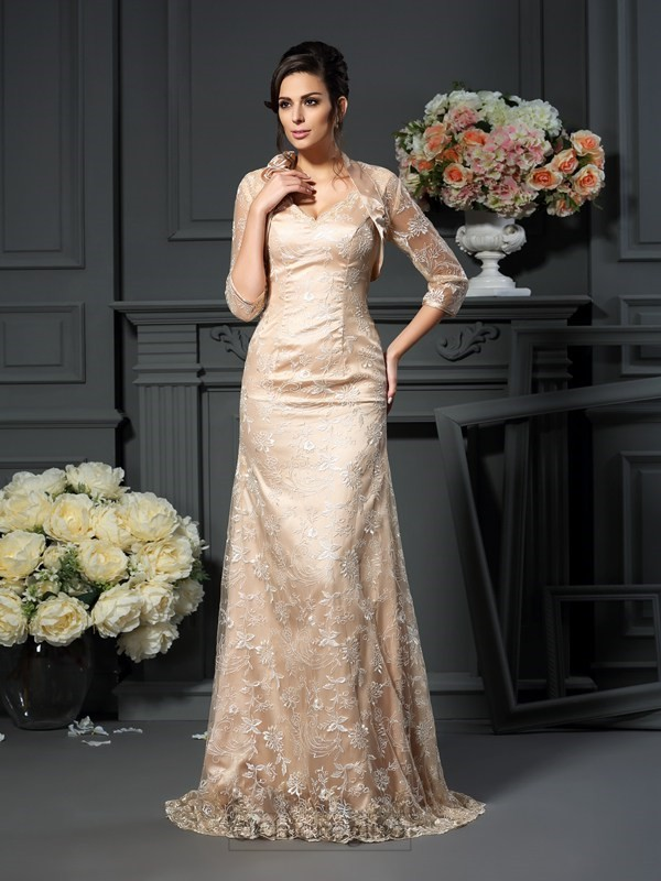 Chicregina A-Line/Princess V-neck Lace Elastic Woven Satin Mother of the Bride Dress with Pleats Jacket