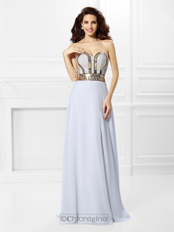 Chicregina Floor-Length Empire Sweetheart Chiffon Prom Dress with Sash Pleats
