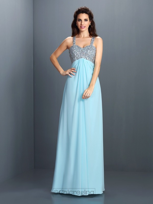 Chicregina Long A-Line/Princess Straps Chiffon Dress With Sash