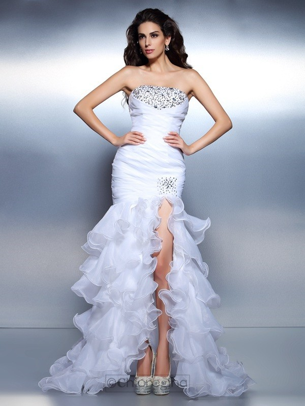 Chicregina Long Trumpet/Mermaid Strapless Ruched Organza Prom Dress with Beading