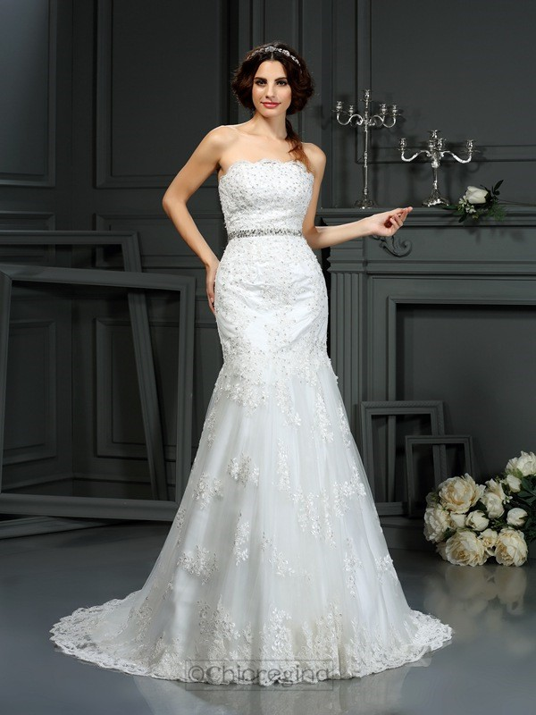 Chicregina Trumpet/Mermaid Strapless Court Train Lace Wedding Dress with Ruffles Beading