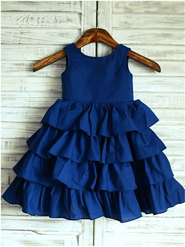 Chicregina A-Line/Princess Sleeveless Scoop Layers Tea-Length Chiffon Flower Girl Dress