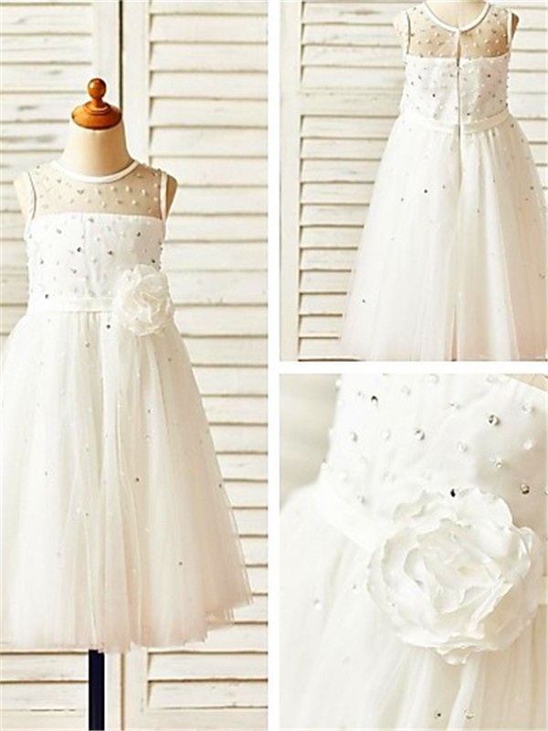 Chicregina A-Line/Princess Scoop Sleeveless Tea-Length Communion Dress with Tulle