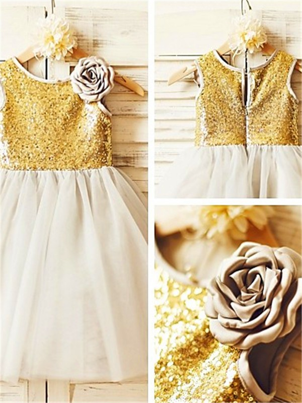 Chicregina A-Line/Princess Scoop Sleeveless Tea-Length Sequin Flower Girl Dress with Tulle