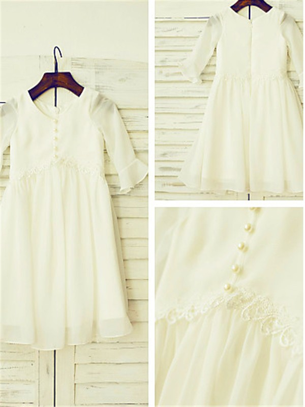 Chicregina Long A-Line/Princess Scoop Sleeves Chiffon Flower Girl Dress with Ruffles