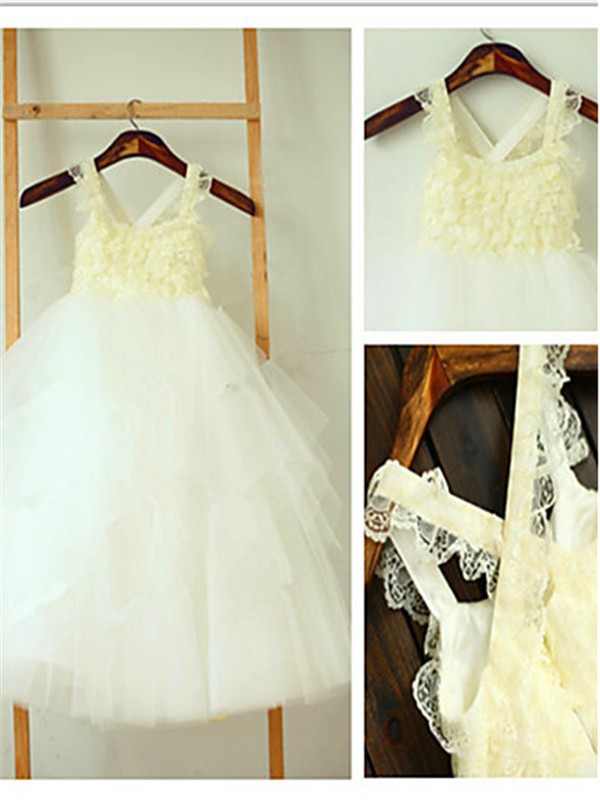 Chicregina Ball Gown Square Sleeveless Layers Tea-Length Flower Girl Dress with Tulle