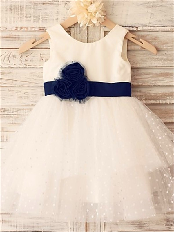 Chicregina A-Line/Princess Sleeveless Scoop Tea-Length Organza Communion Dress