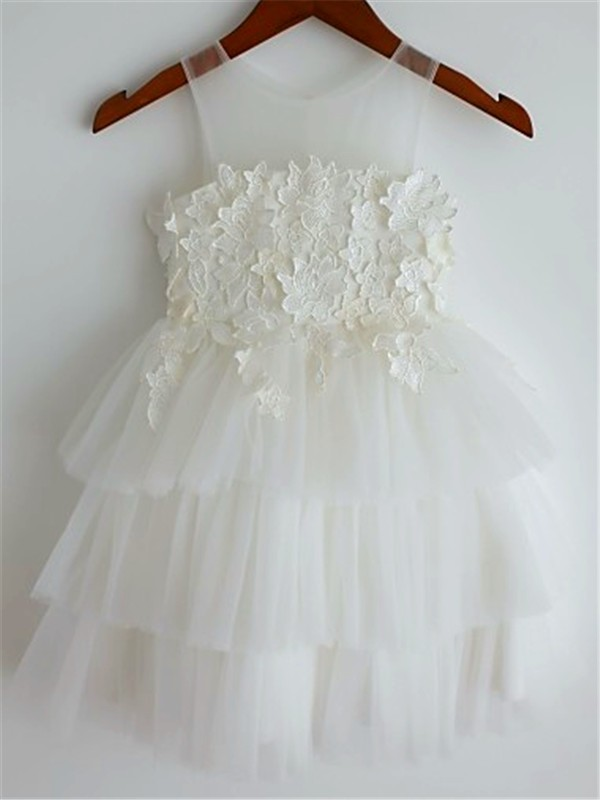 Chicregina A-Line/Princess Straps Sleeveless Lace Tea-Length Flower Girl Dress with Tulle