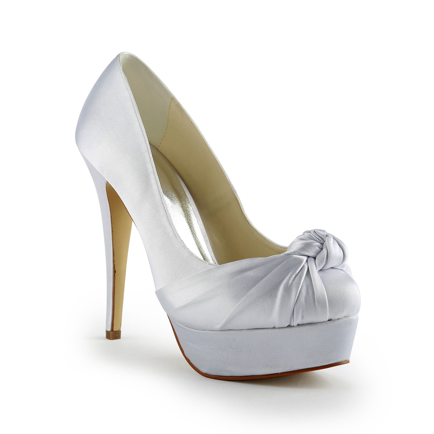 Chicregina Womens Gorgeous Satin Stiletto Heel Pumps Wedding Shoes with Ruched