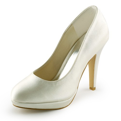 Chicregina Womens Beautiful Satin Stiletto Heel Closed Toe Platform Pumps Bridal Shoes