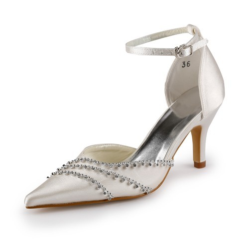 Chicregina Womens Nice Satin Stiletto Heel Closed Toe Pumps Wedding Shoes with Buckle Rhinestone