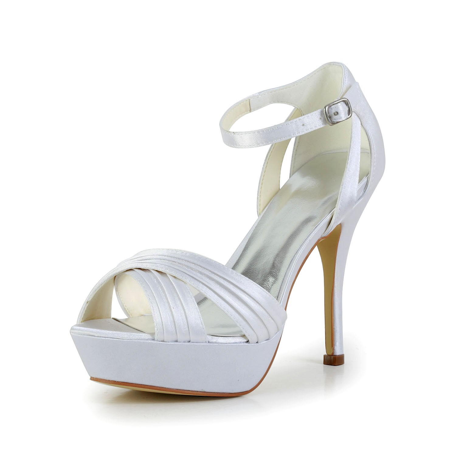 Chicregina Womens Satin Stiletto Heel Peep Toe Platform Pumps Sandals with Buckle Ruffles