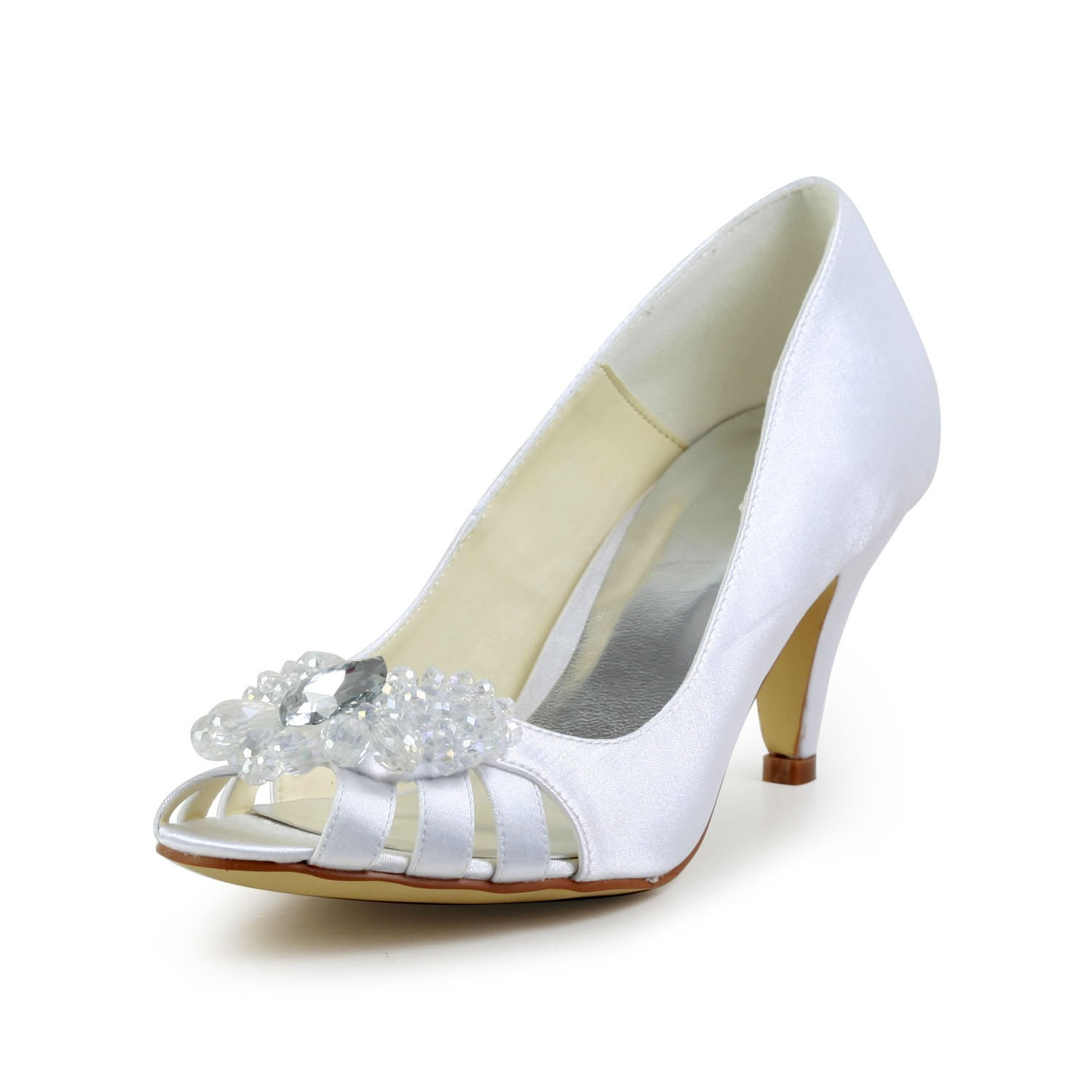 Chicregina Womens Satin Cone Heel Peep Toe Pumps Sandals with Rhinestone Hollow Out